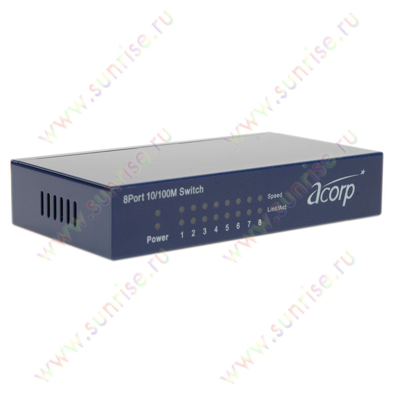 Коммутатор ACORP HU8D 8port 10/100Mbit, metal
