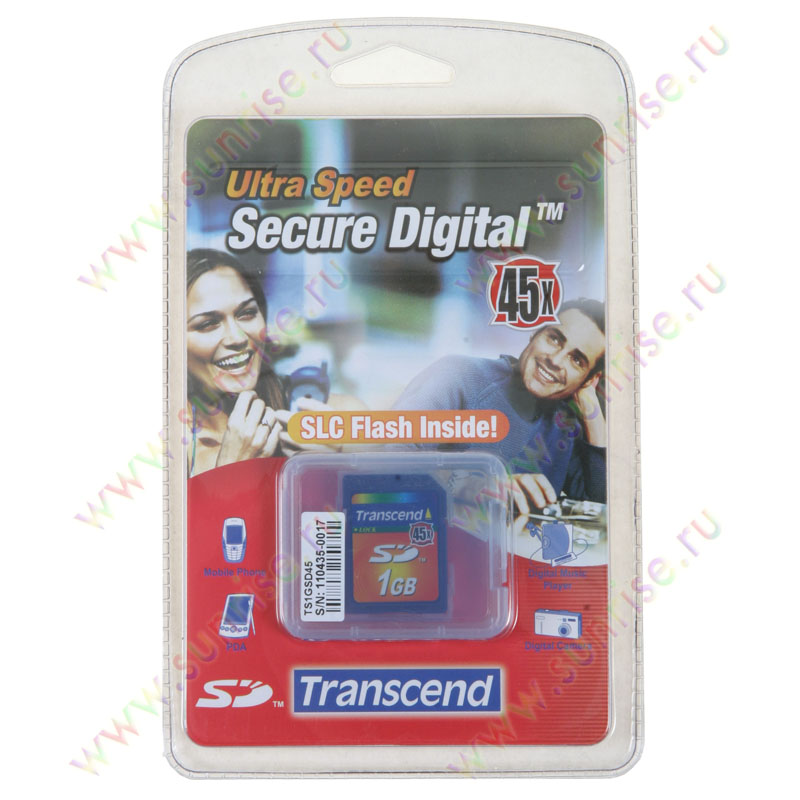 Носитель информации SecureDigital 1Gb Transcend (TS1GSDС) 45x