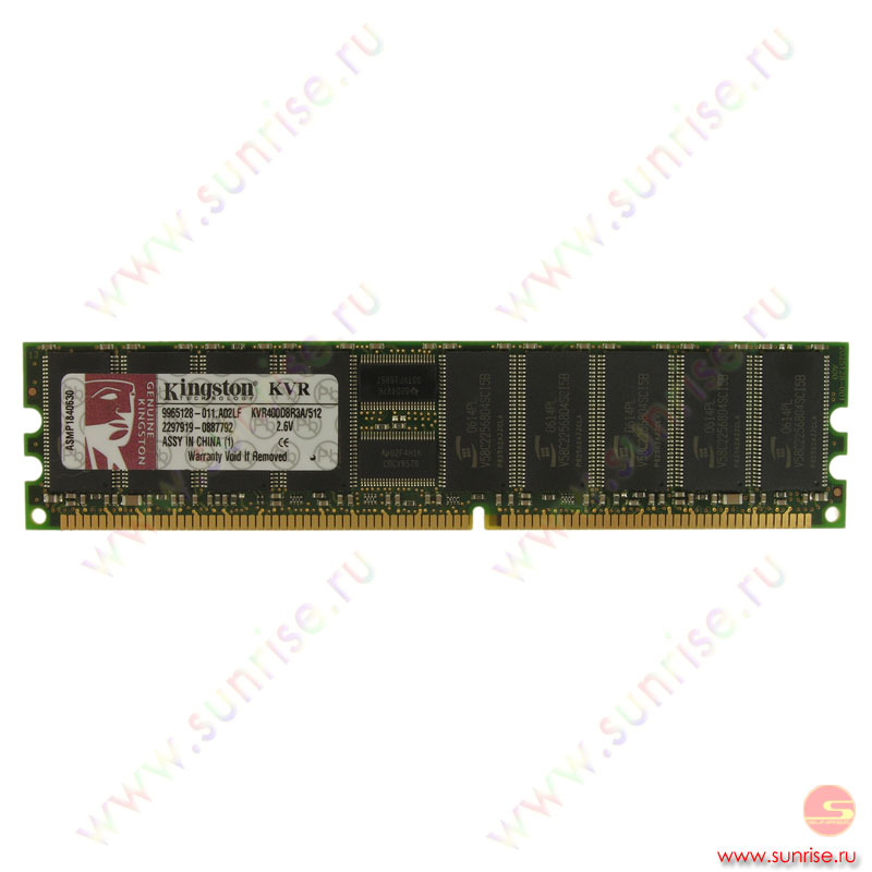 DIMM 512Mb PC2-3200(400Mhz)  ECC+Reg, Single Rank, x8, Kingston(KVR400D2S8R3/512)