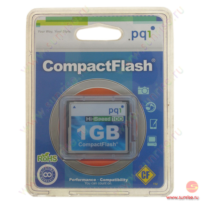 Носитель информации Compact Flash 1Gb PQI (AC57-1030-0101) 100x