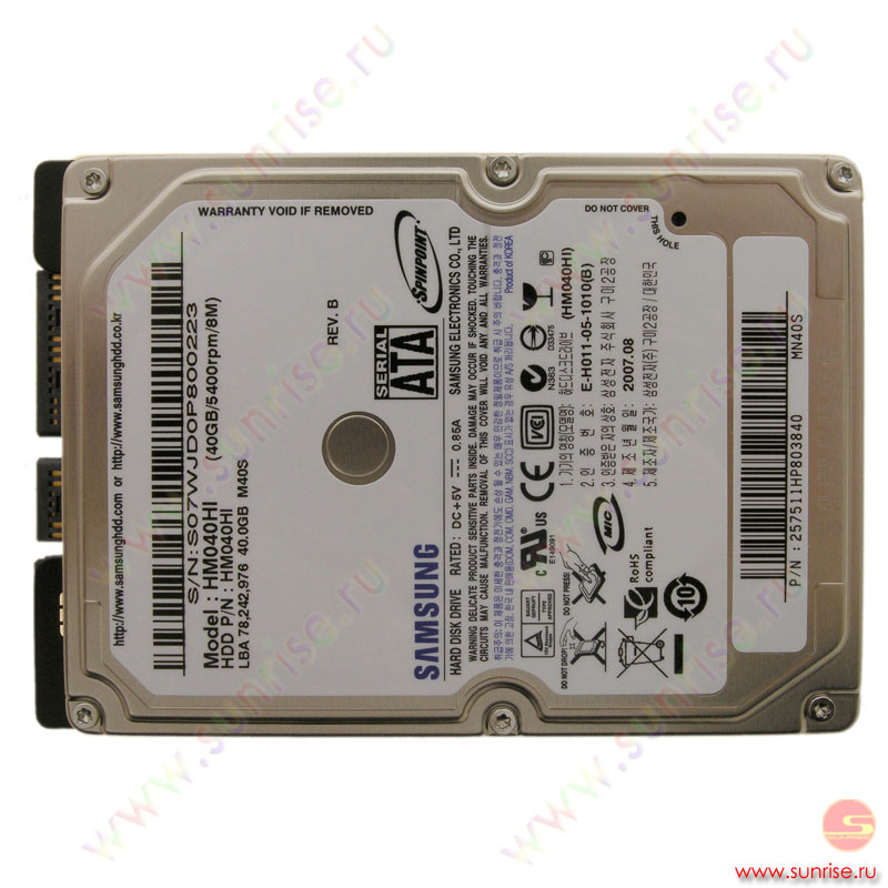 "040,0 Gb HDD Samsung (HM040HI) 5400 rpm 8Mb 2.5"" SATA"