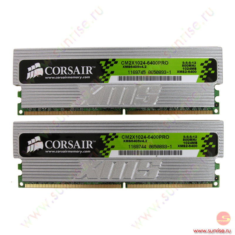 2xDIMM 1024Mb  PC2-6400(800Mhz) Corsair XMS2 [TWIN2X2048-6400PRO] 5-5-5-15