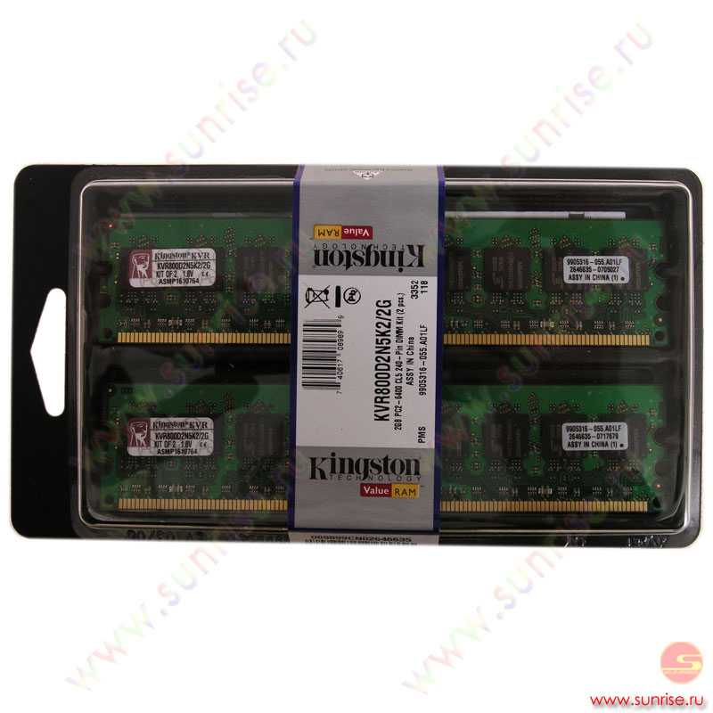2xDIMM 1024Mb  PC2-6400(800Mhz) Kingston (KVR800D2N5K2/2G)