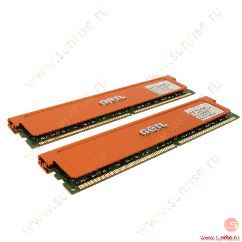 2xDIMM 1024Mb  PC2-6400(800Mhz) Geil Plus (GX22GB6400PDC) 3-3-3-8