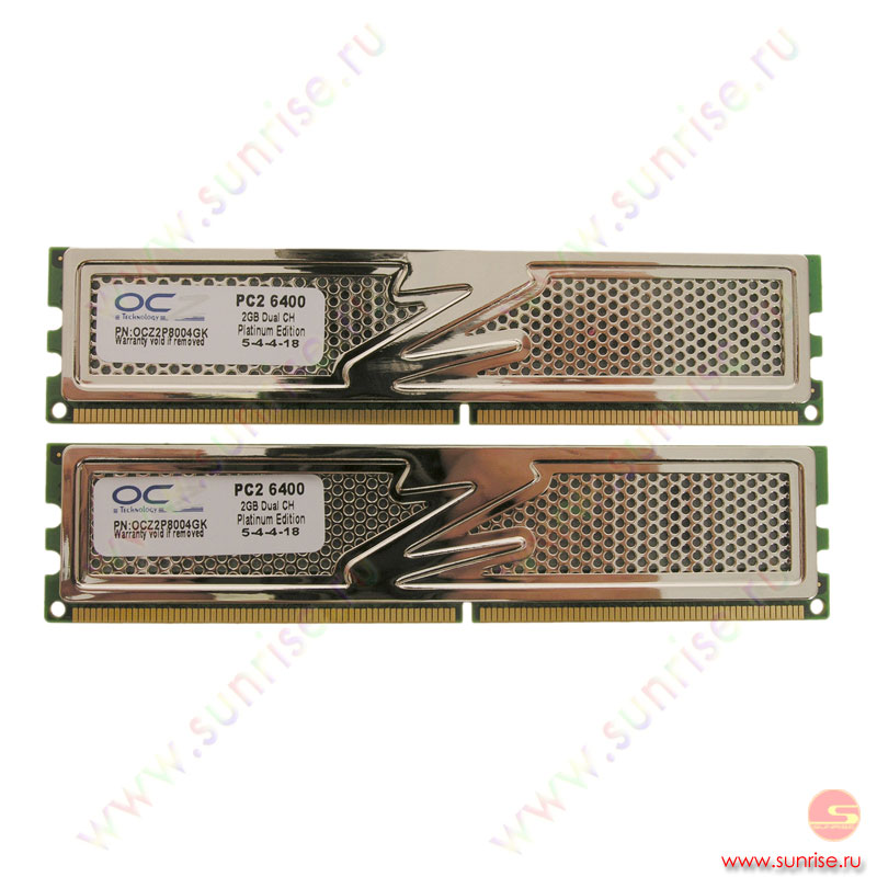 2xDIMM  2048Mb  PC2-6400(800Mhz) OCZ Platinum Edition   (OCZ2P8004GK) 5-4-4-15
