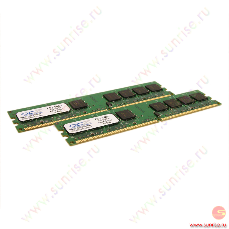 2xDIMM  2048Mb  PC2-6400(800Mhz) OCZ Value (OCZ2V8004GK) 5-6-6-18