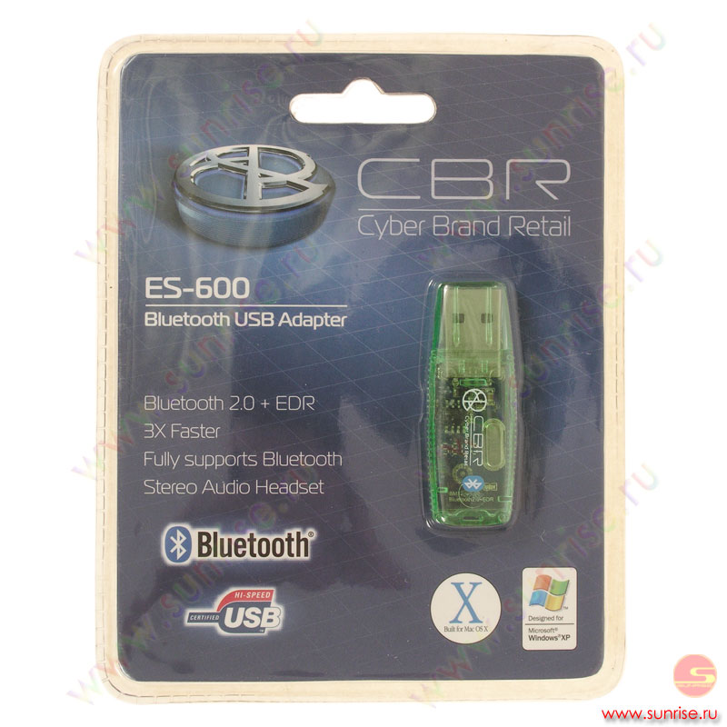 Адаптер Bluetooth 2.0 CBR ES-600GR, Green, Dongle, ClassI 100m, USB, Rtl
