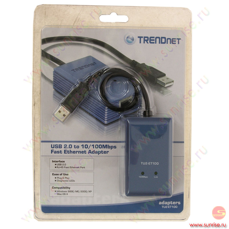 Адаптер TrendNet TU2-ET100, USB 2.0 to 10/100Mbps