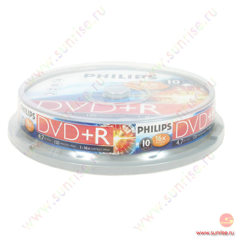 Диск  DVD+R 4,7Gb Philips 16x Cake Box ( 10 дисков) (5737)