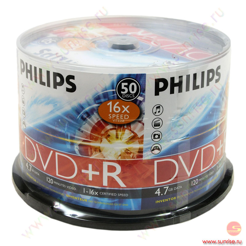 Диск  DVD+R 4,7Gb Philips 16x Cake Box ( 50 дисков) (5738)