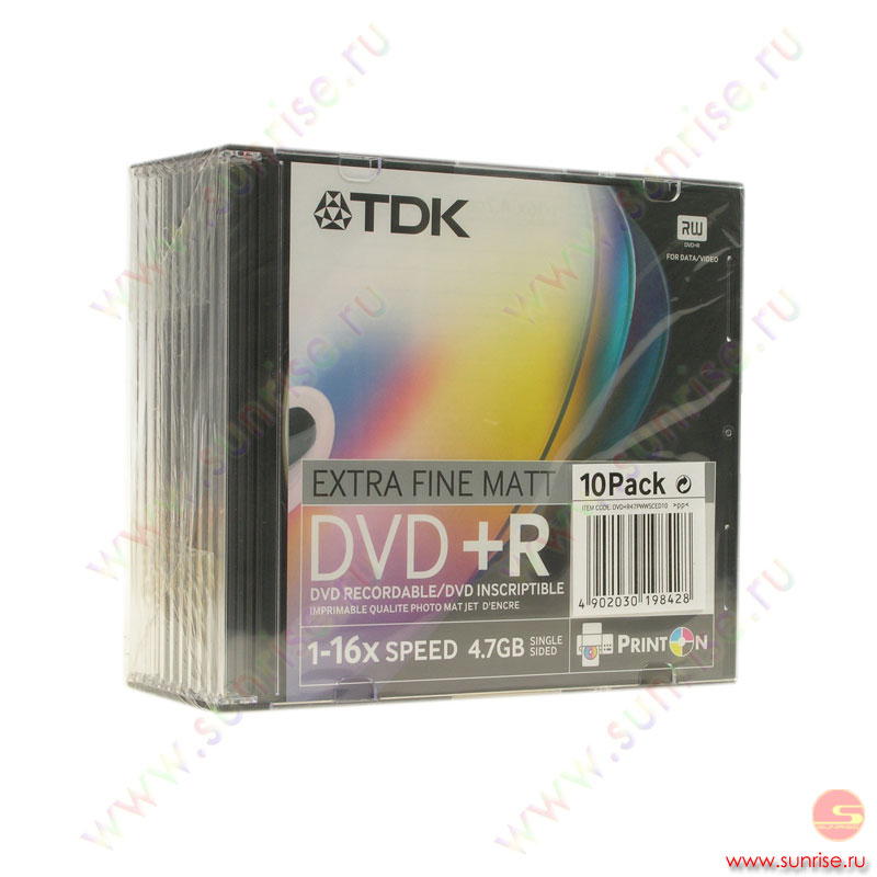 Диск  DVD+R 4,7Gb TDK 16x Slim (10 дисков ) Printable (DVD+R47PWWSCED10)