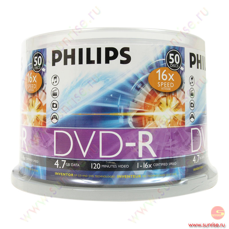 Диск  DVD-R 4,7Gb Philips 16x Cake box ( 50 дисков) (5751)