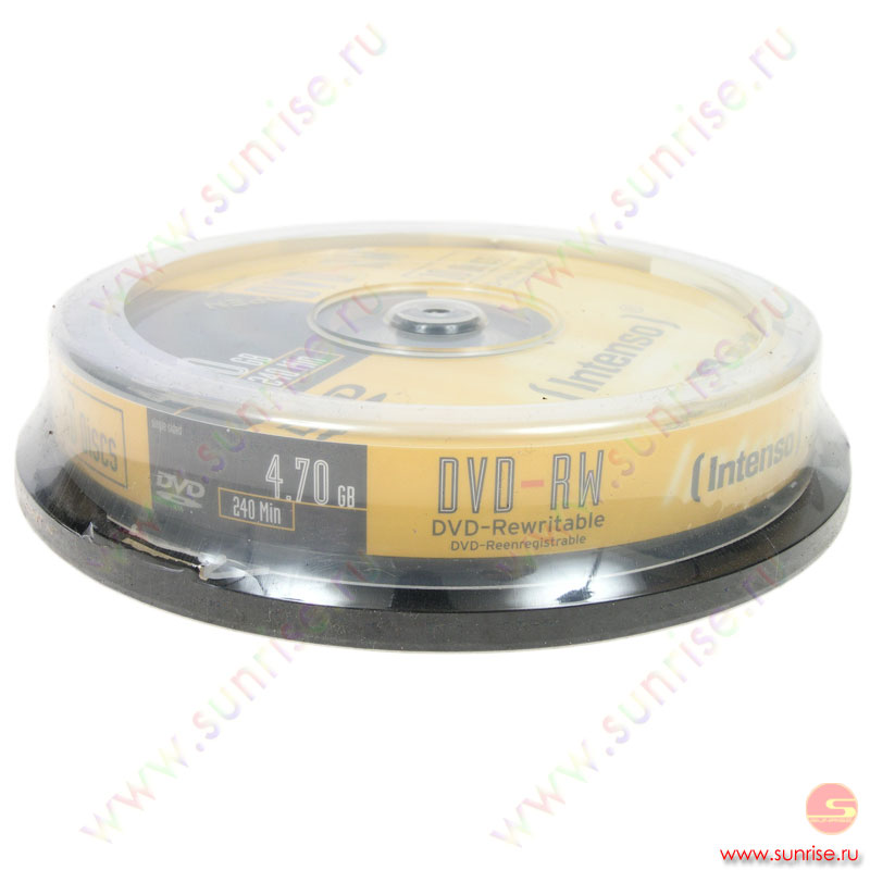 Диск DVD-RW 4,7Gb Intenso 4x Cake box ( 10 дисков)